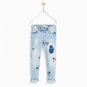 Zara girls ripped jeans with Mickey prints